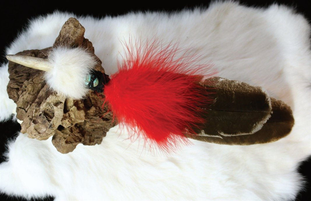 Dancing Red Fluffies with Barred Turkey Feather, Rabbit, Antler tip and Turquoise Bead Handle.