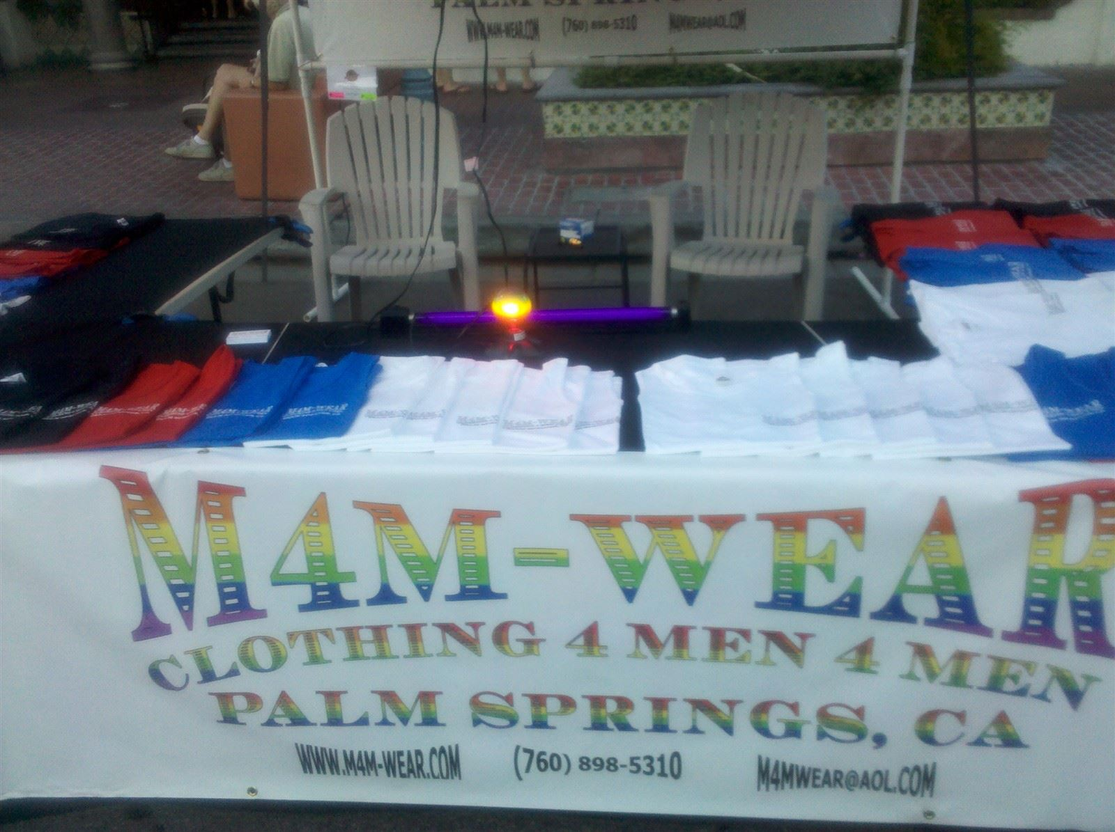 M4M-WEAR Booth at Village Fest Sign and Products