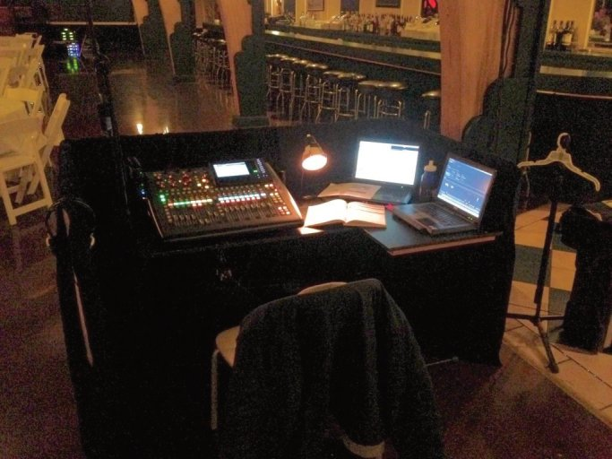 The FOH setup for A Funny Thing Happened on the Way to the Forum