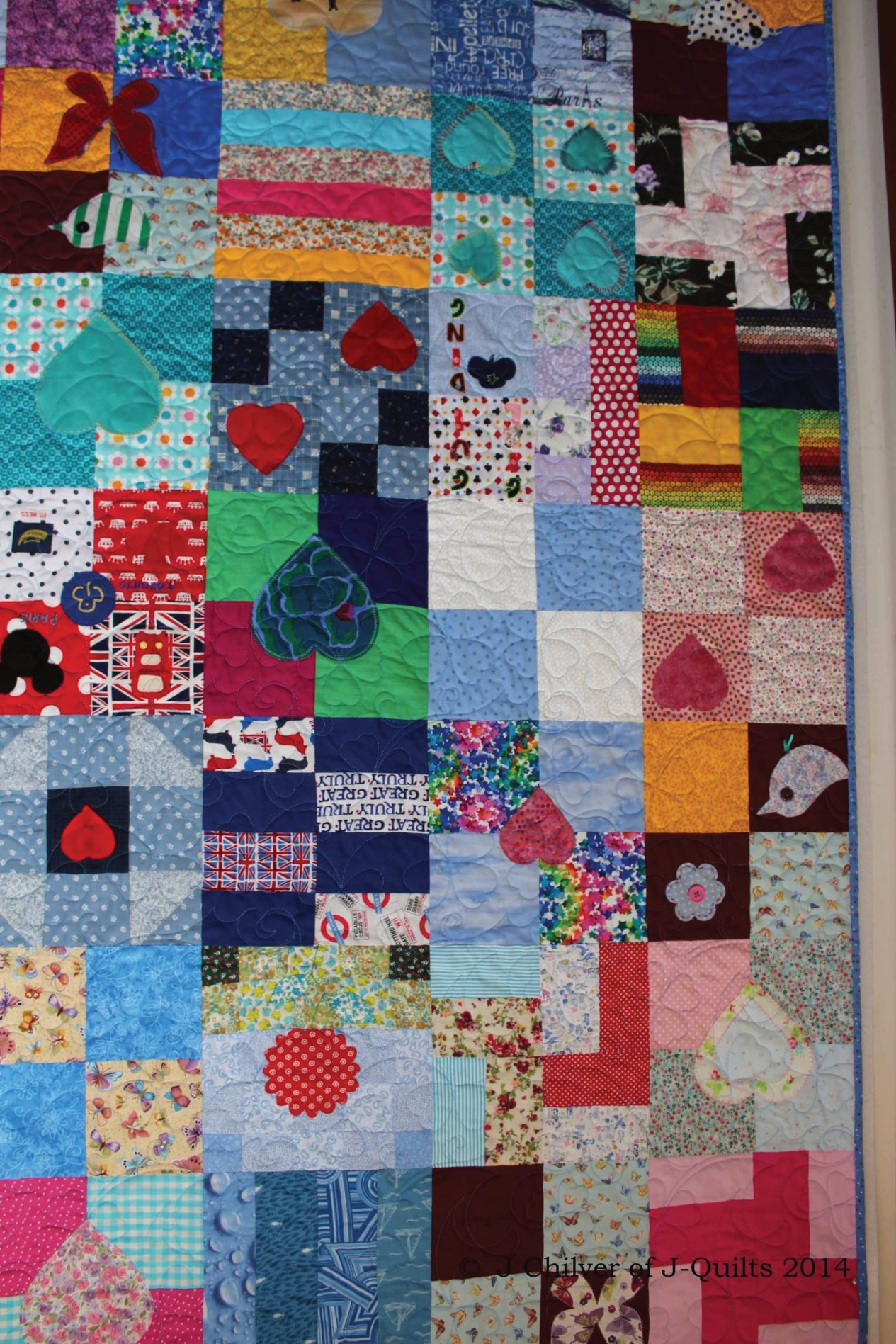 Lovely scrappy nature of the quilt