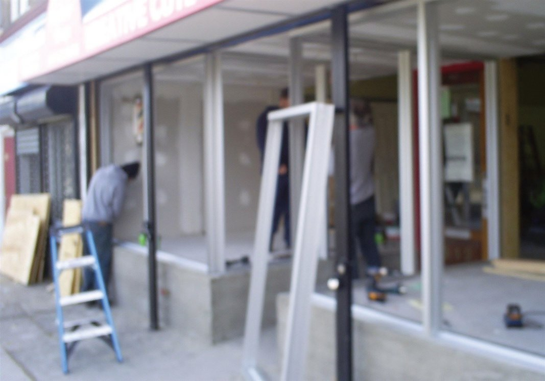 New storefront construction