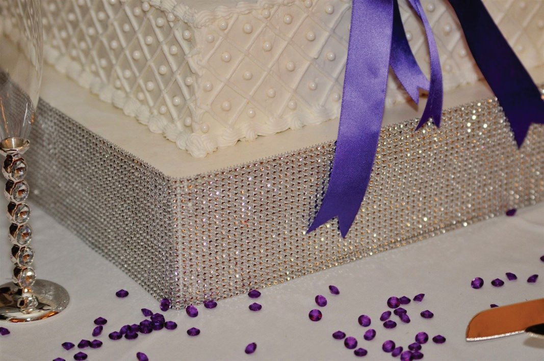 cake with purple diamond confetti