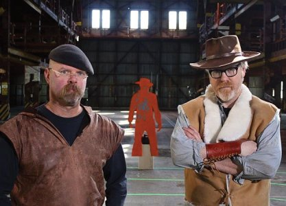 Mythbusters in Hollywood Gun Slingers Episode with Clint Eastwood vest and wrist cuff          clint eastwood,wrestling belts,replica bullets,spurs StraightLine Collectibles, boots, poncho, holster