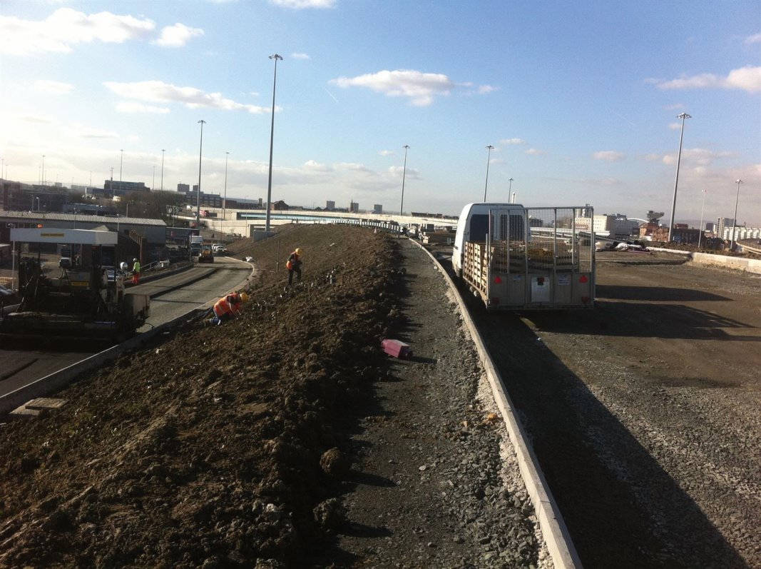 Planting works on the M74 motorway extension, Glasgow