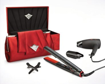 We stock ghd Scarlet Deluxe Collection in our salon in Stourbridge. Containing straighteners, hairdryer, bag and clips.