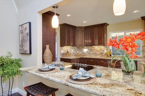Rancho Santa Fe staging where the kitchen stands out