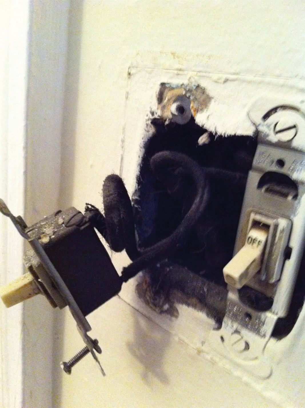 Vintage cloth-covered wire replaced by Hyde Park Electrician!