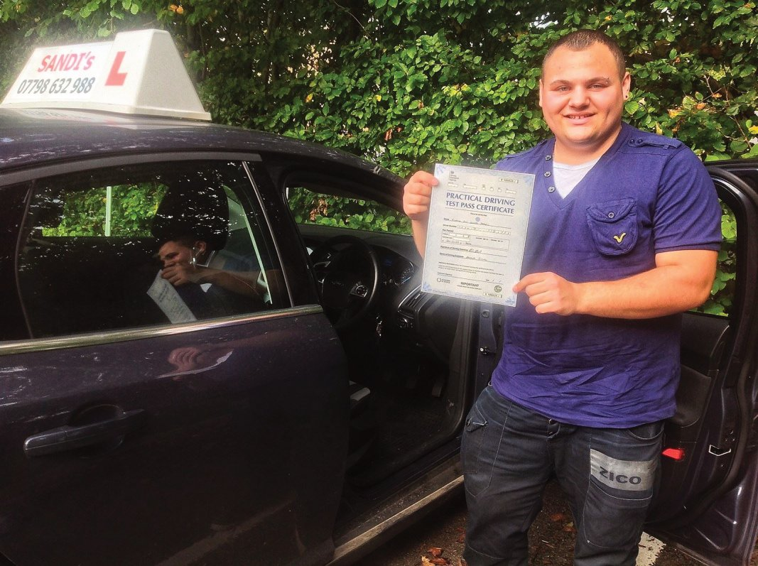 Curtis Francis (Gillingham) Passed his driving test 1st time at Yeovil DTC