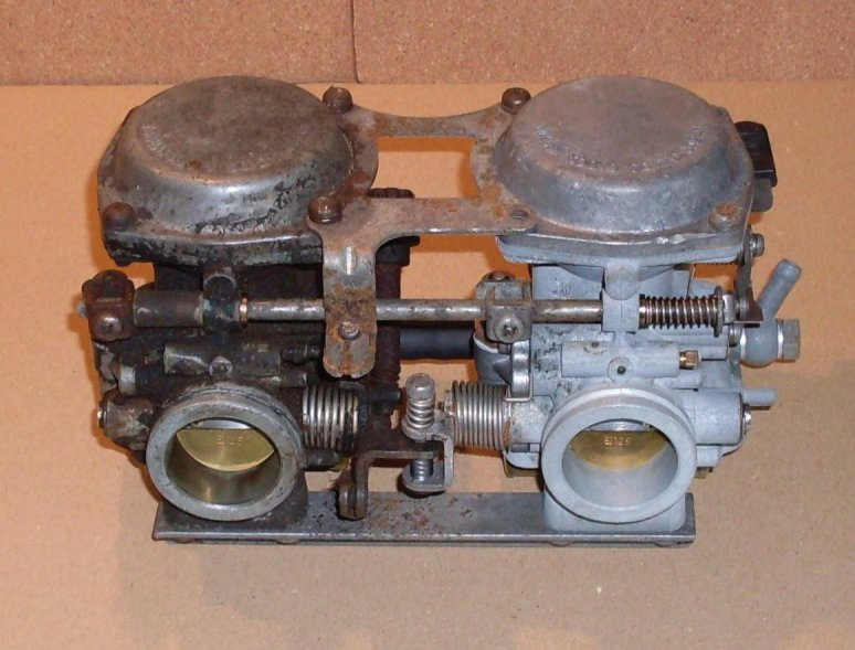 XS250 CV carbs from the Corrosion removal challenge, destined to become a display peice. We are interested to hear from anybody who wants to see if we can revive some really badly neglected carbs!