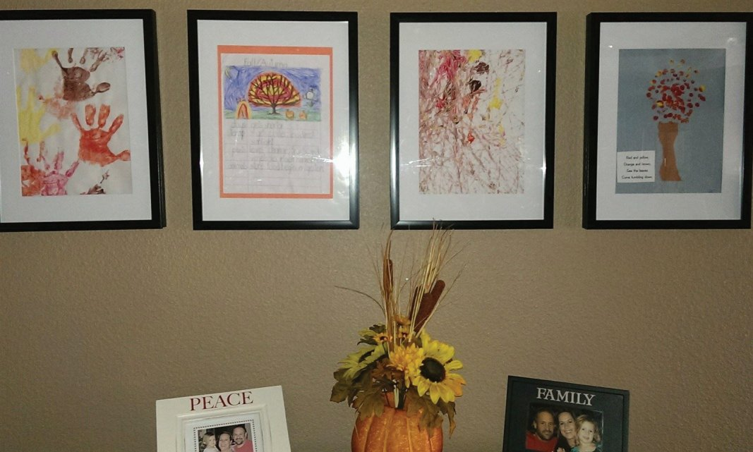 Remember to put up art creations your kids made for #thanksgiving - change your art wall - #fall