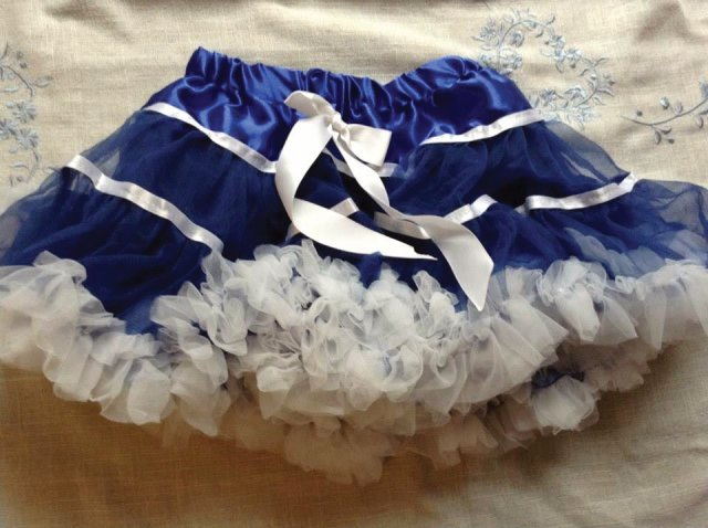 Blue and white pettiskirt tutu