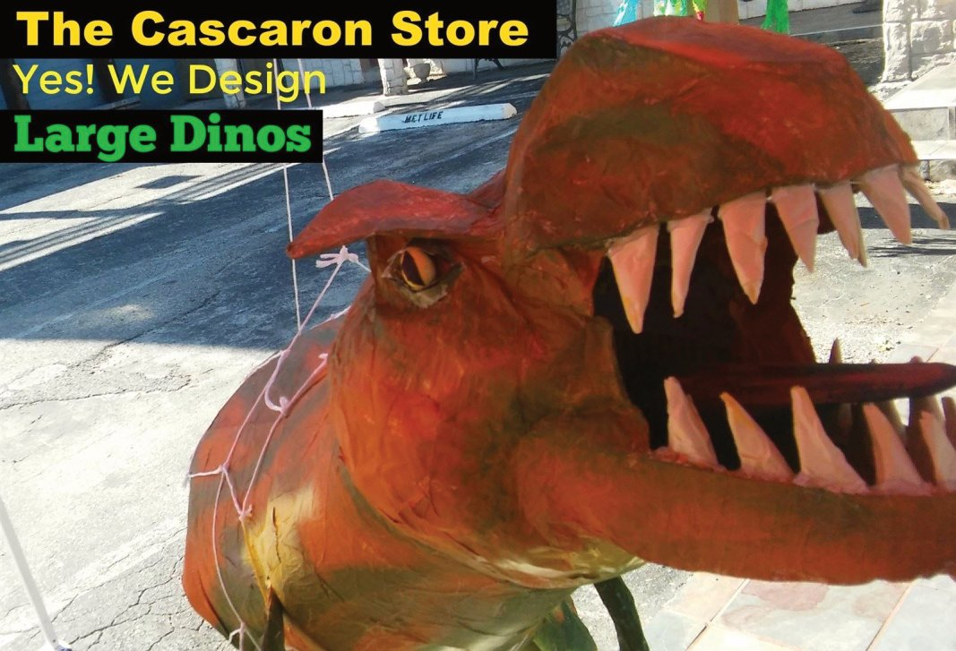 Parade Float Large Dinosaur custom display for business by the cascaron store in Texas