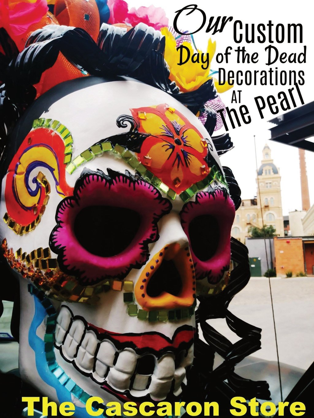 day of the dead large custom display by the cascaron store for parade float in texas