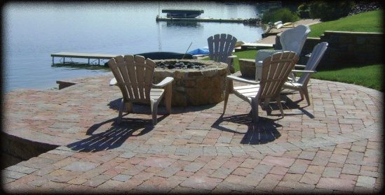siloam stone fire pit with paver patio