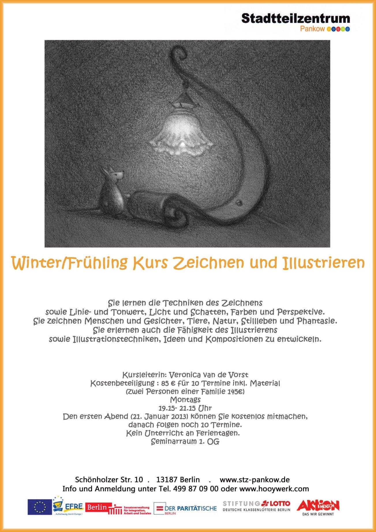 Poster drawing course. Poster voor tekencursus
