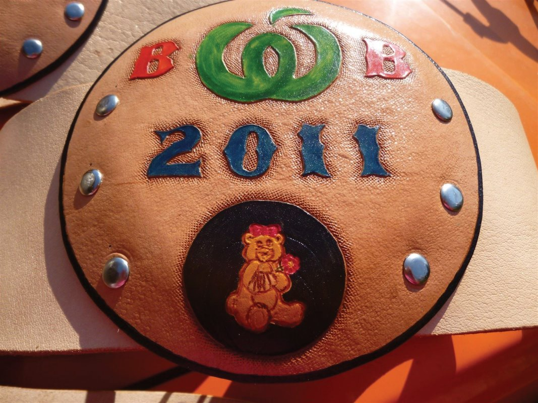 Handcarved,moulded and painted leather championship belt  Charity bare foot bowls winners