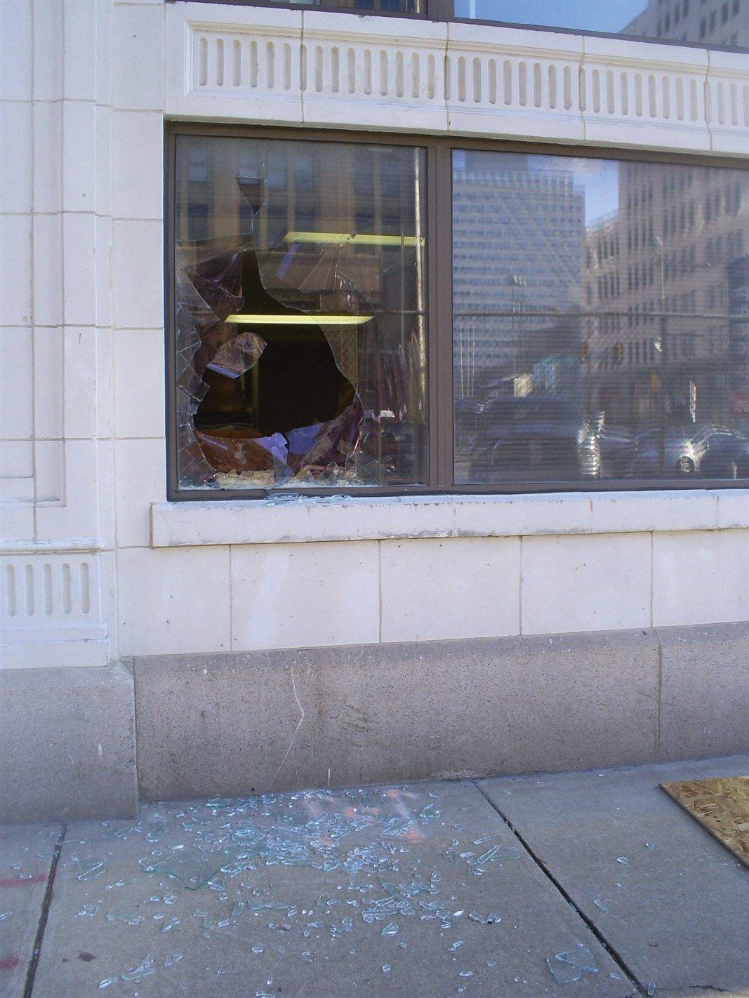 Broken window in center city Philadelphia Pa