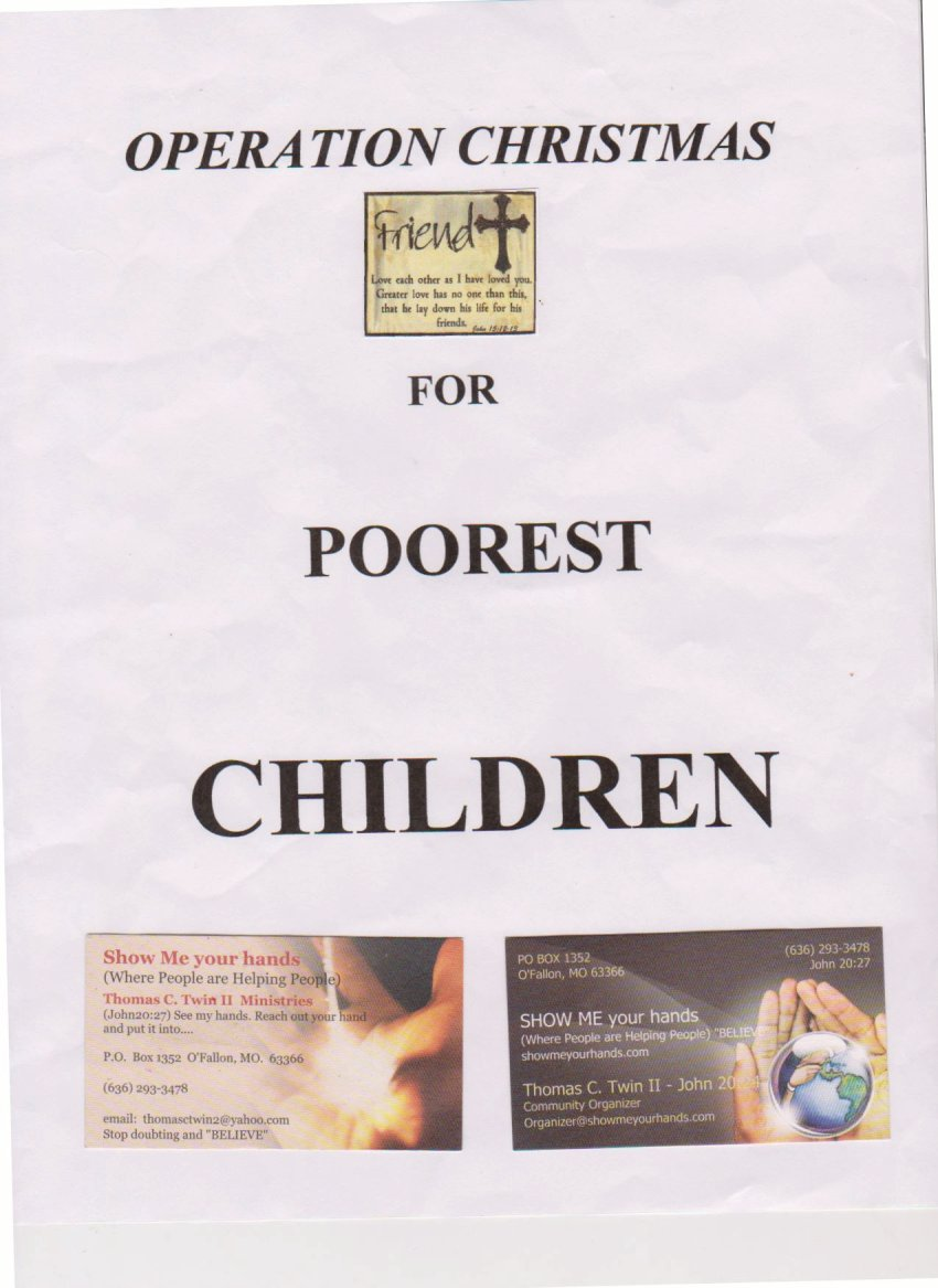 Cover of pamphlet that I am giving to the people
