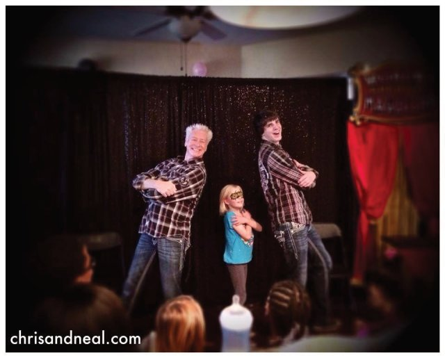 Dynamic Entertainers Chris and Neal in Action at a Child's Birthday Party Magician Show in New Bern North Carolina