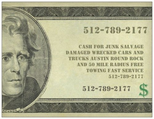 CASH FOR ALL JUNK SALVAGE DAMAGED WRECKED CARS TRUCKS AUSTIN TEXAS 512-789-2177