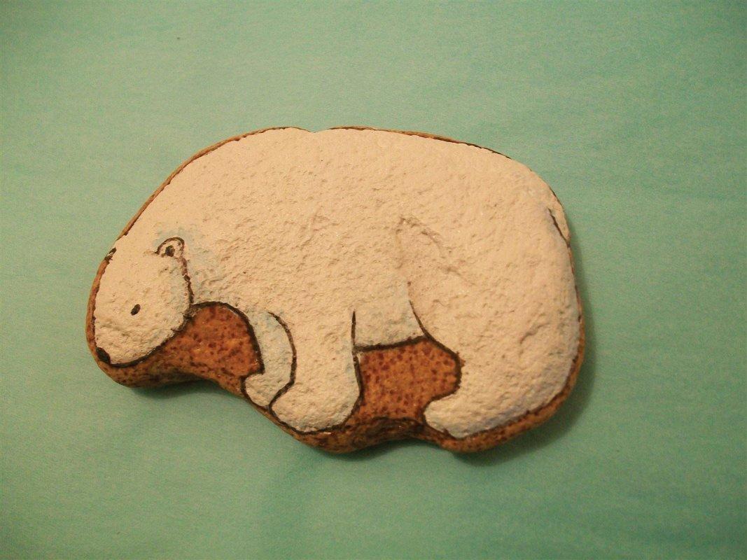 Polar Bear painted pebble