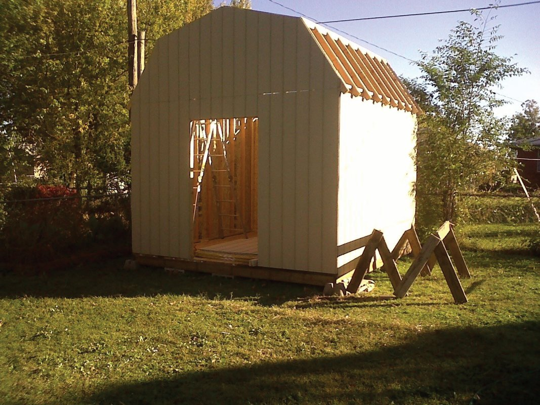 time shed sheeted after framing