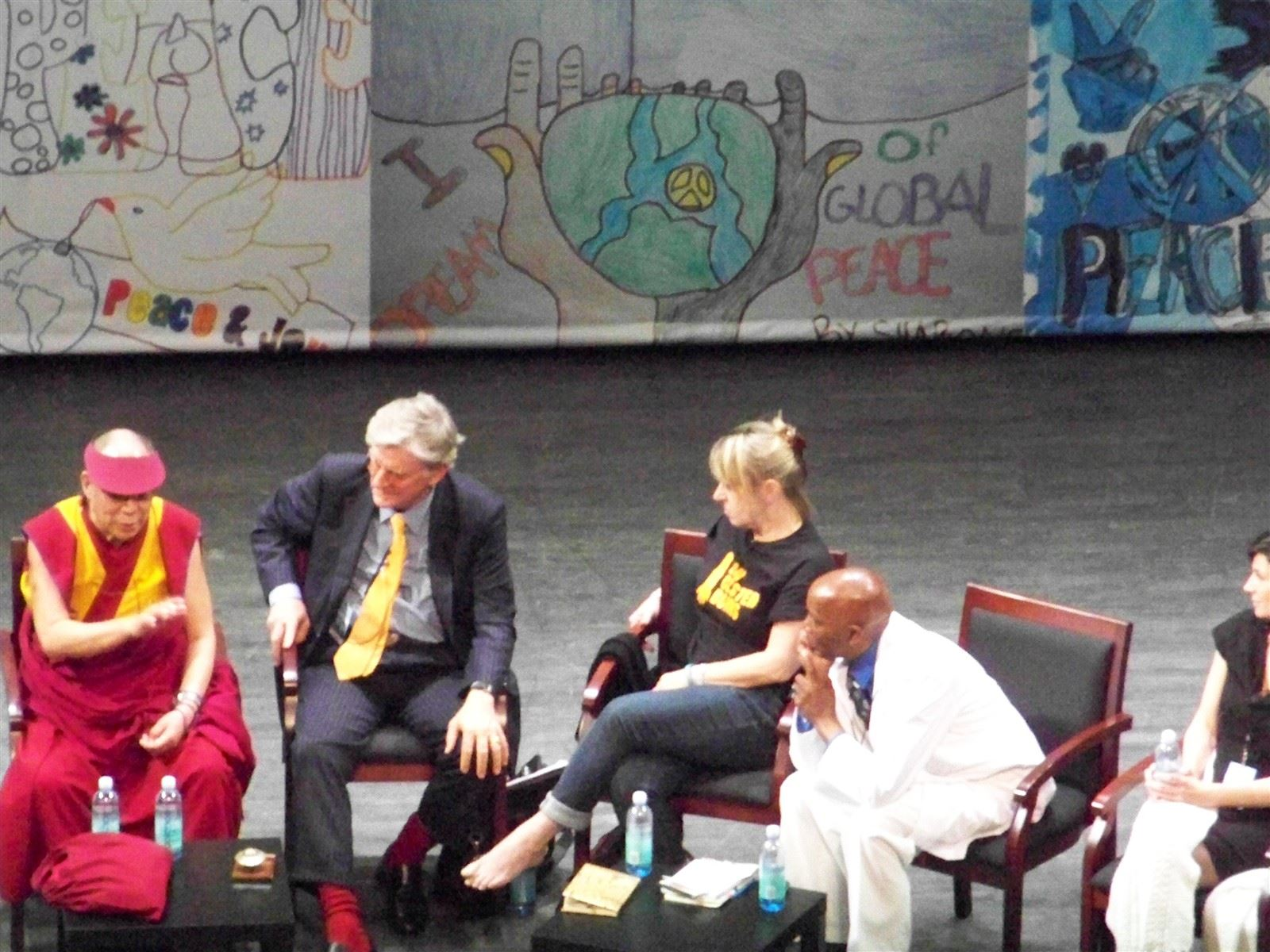 """His Holiness the Dalai Lama : His Holiness the Dalai Lama, Moderator Robert Thurman, Nobel Laureate Jody Williams, Newark's Earl """"The Street Doctor"""" @NewarkPeace, May 2011"""