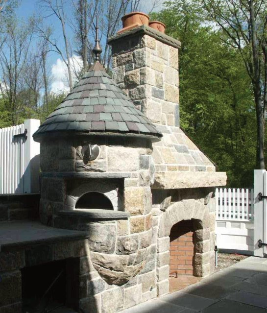 pizza oven with stone fireplace
