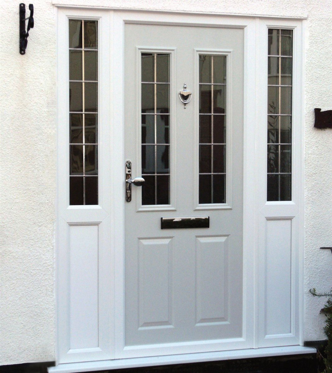 Custom colour composite door with side windows. Lead square glass. Westcliff-on-Sea, Essex.