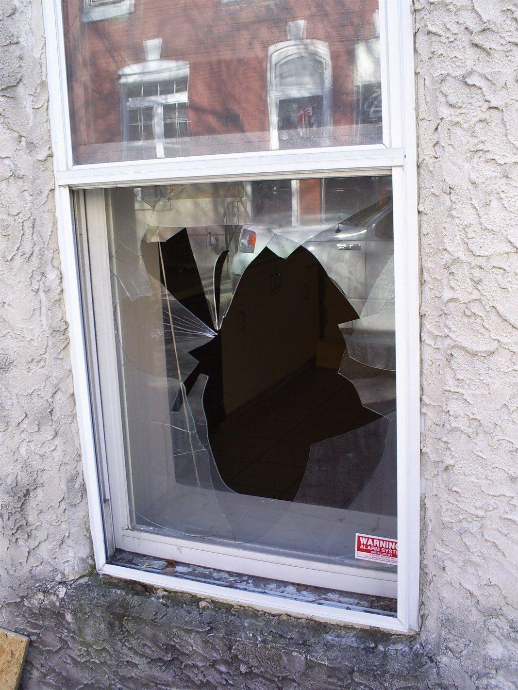 Philadelphia Pa glass repair - before