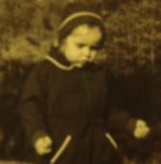 Toddler, Eileen Douglas, minister at 3 yrs. old; on a spiritual path even then.