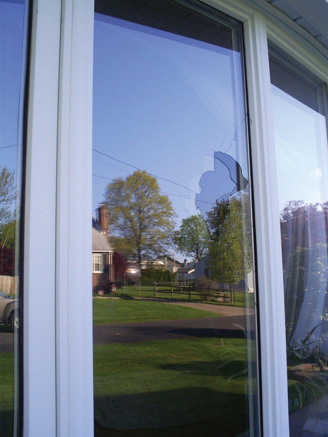 Broken double pane window