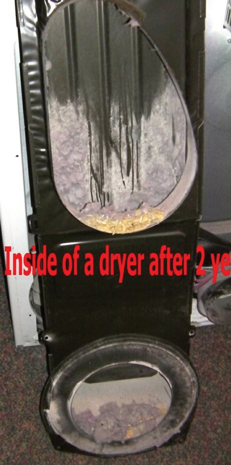 clean a dirty dryer means taking the dryer back off and physically vacuuming out the lint or brushing it away