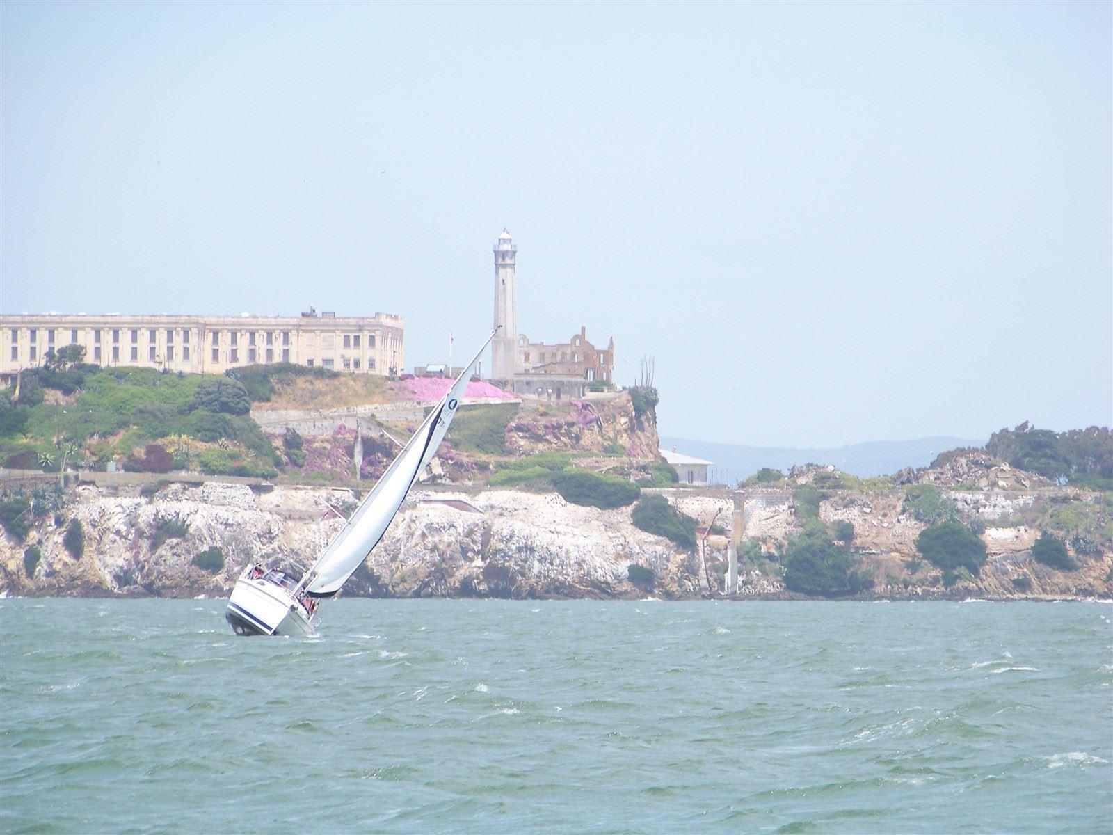 Sailboat in SF Bay : Sailboat in San Francisco Bay, Alcatraz Background