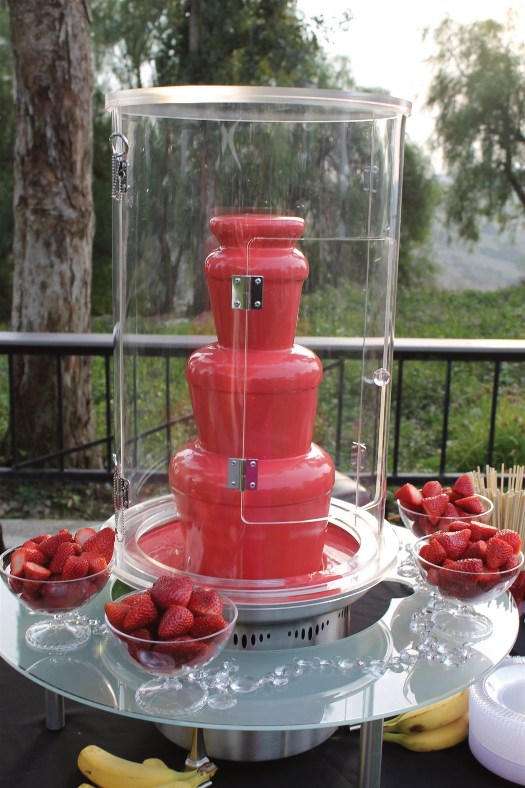 Colored Chocolate Fountain w/ Wind Guard