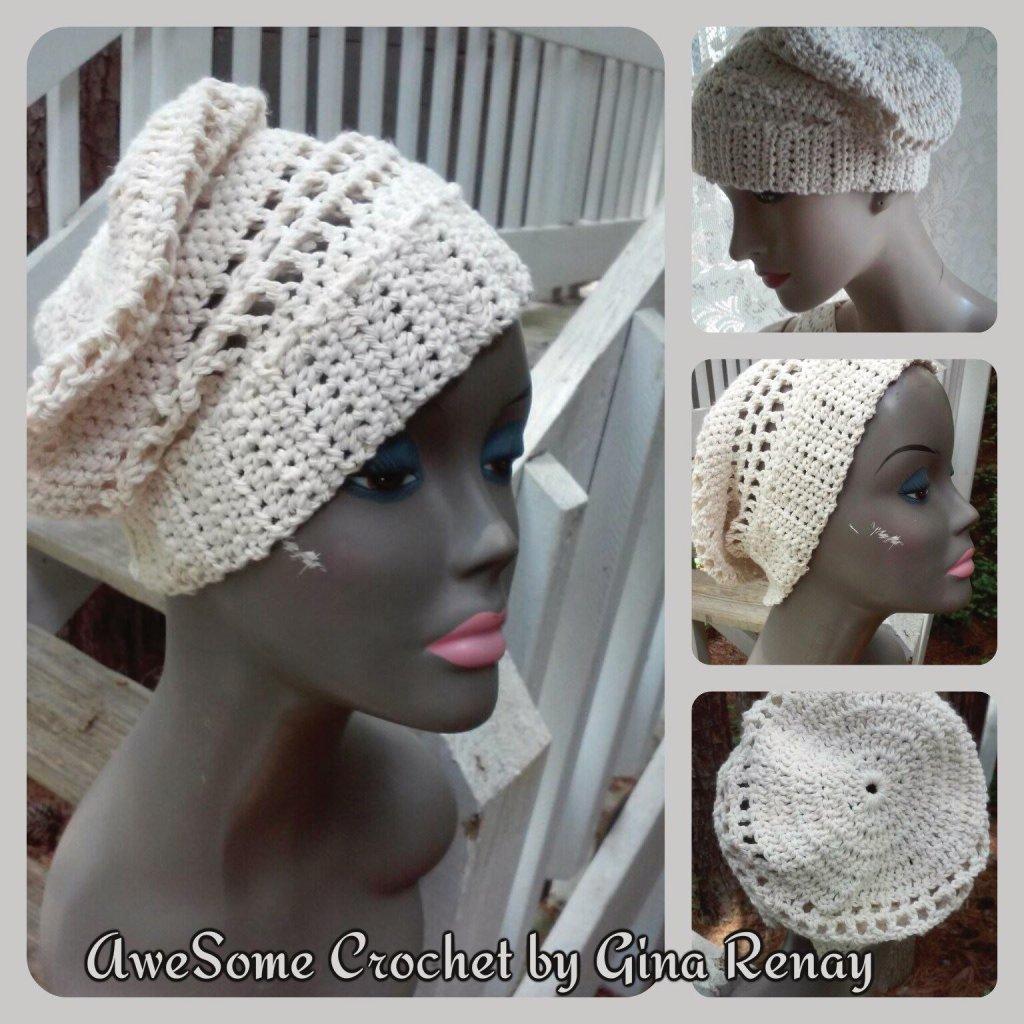 Cotton crochet hat beige SPR05-308