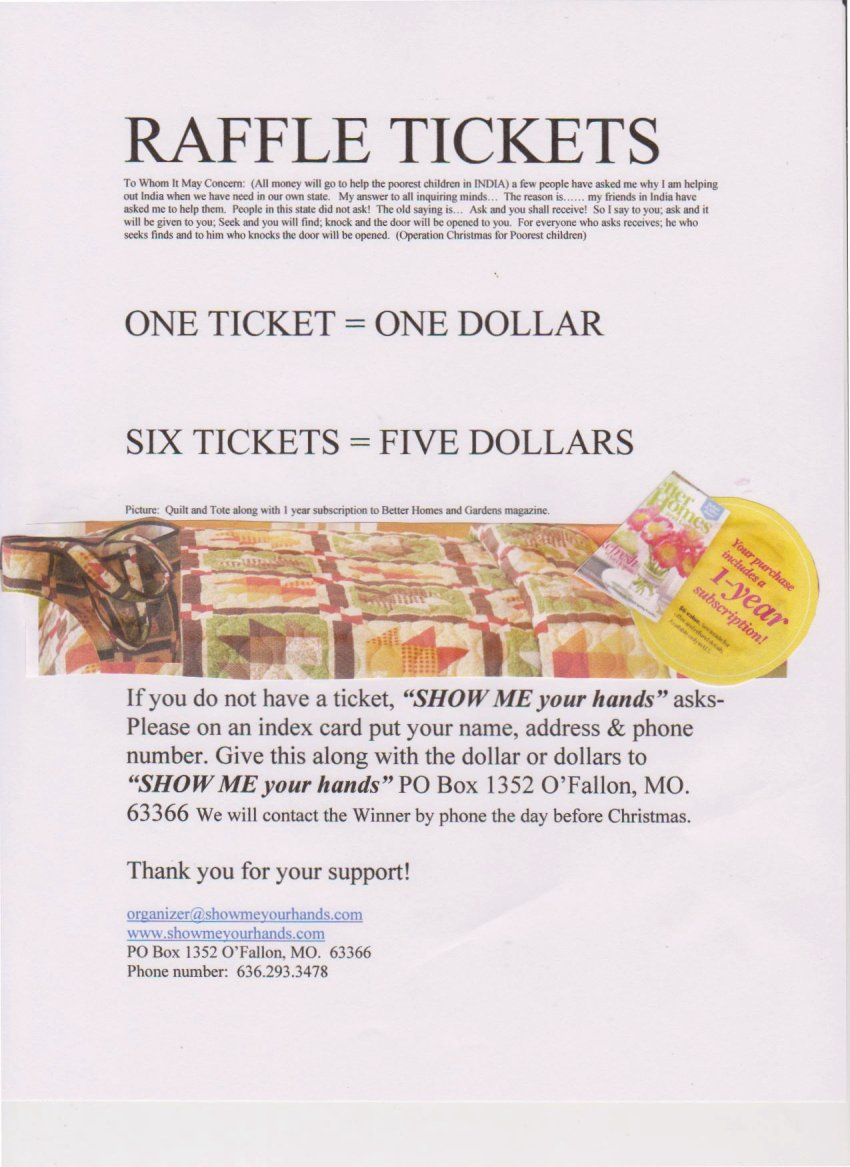 Raffle Tickets to win the Quilt