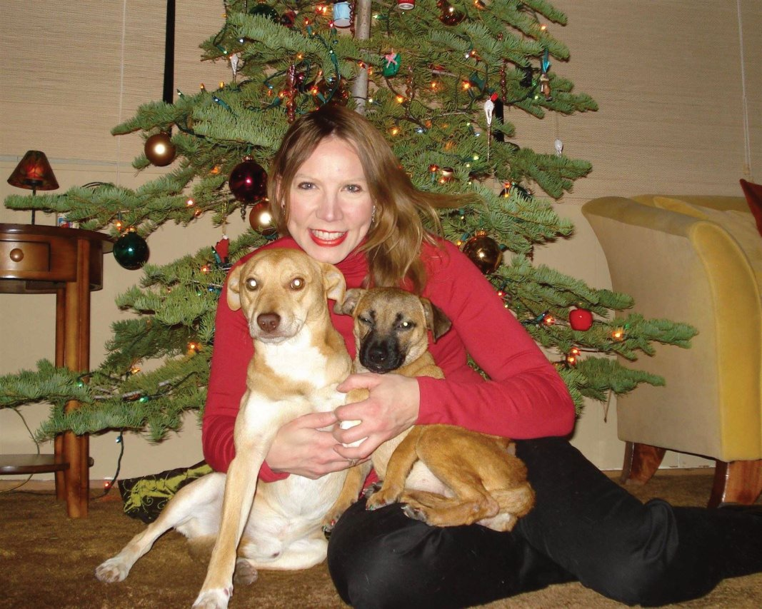 Cat book author Janette and her rescued doggies (First Christmas together - Lake Tahoe 2007)