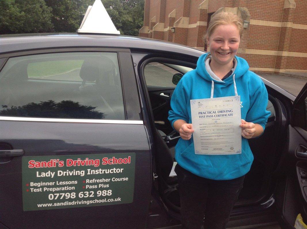 Harriet Hammond (Zeals) Passed her driving test 1st time at Westbury DTC