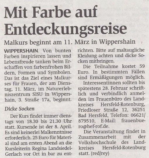 Malkurs für Frauen -mit Regina Landsiedel-Gerlach - in Zusammenarbeit mit dem Frauenbüro Hersfeld-Rotenburg
