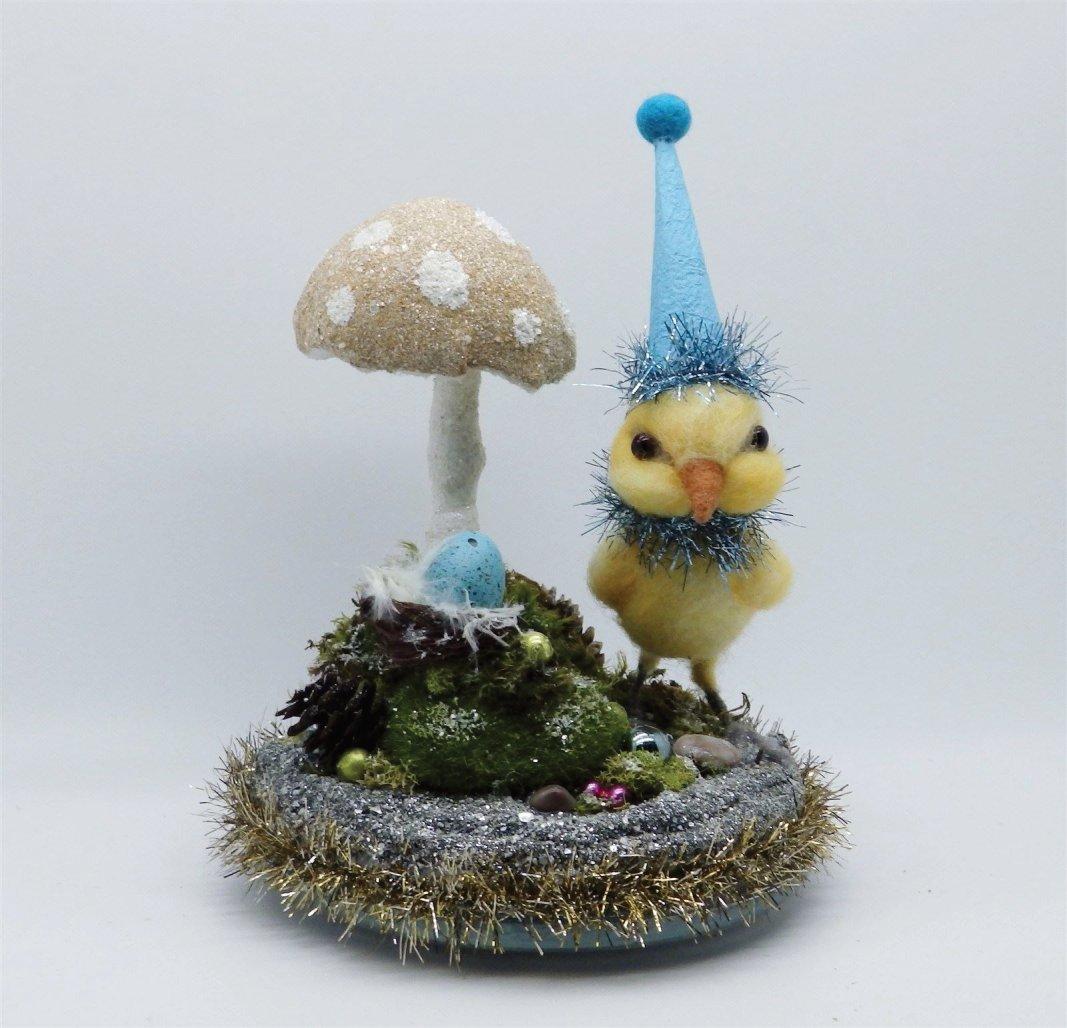 Georgie Peep & yellow Spun Cotton Mushroom #1