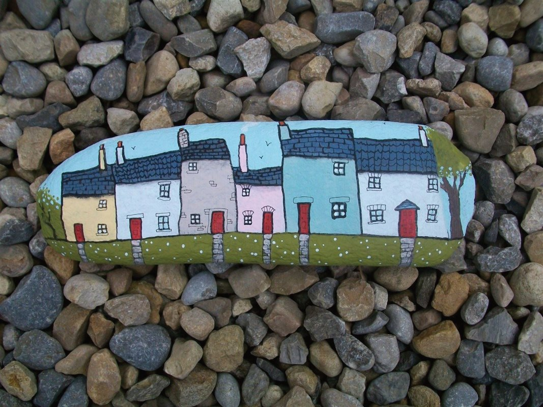 row of calico cottages