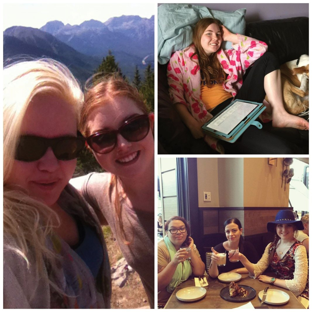 Left: On top of Sulfur Mountain in Banff, AB with LA Morley; Top Right: Time for schoolwork; Bottom Right: Dinner on Whyte Ave with Olivia Marie and Molly Alanna